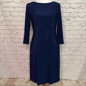 Tahari Ruffled 3/4 Sleeve Shift Dress Size 6 Navy